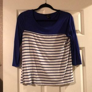 3/4 length sleeve; blue and white striped top